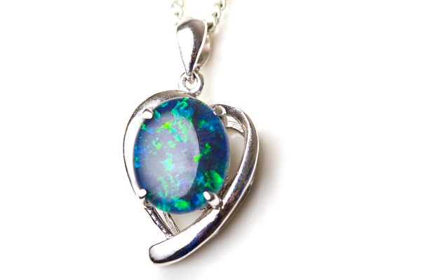 silver necklace with opal