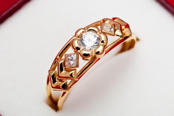 gold ring cz stone
