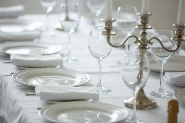 silver candelabra on dinner table
