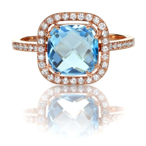 Blue Topaz and diamond Rose Gold Halo Ring