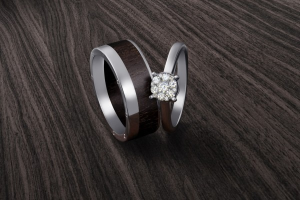 White gold set of wedding ring with wood part and engagement ring