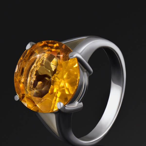 Yellow diamond white gold ring