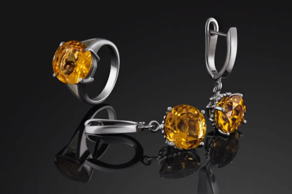 Yellow diamond white gold ring and earring set