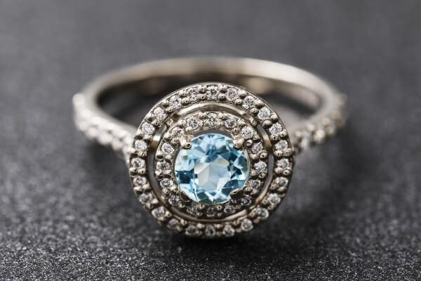 blue topaz & cubic zirconia ring